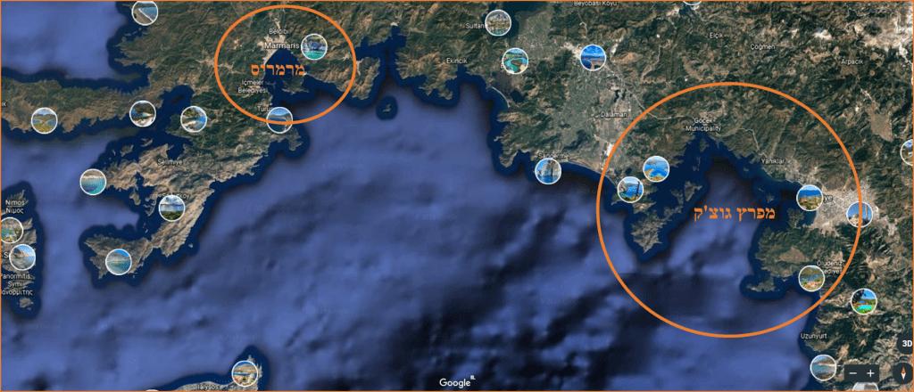 מסלול ההפלגה של פלוטילת יאכטות בלו ווייב בתורכיה סוכות 2019